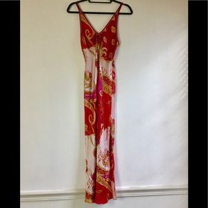 Vintage 80's silk scarf style long nightgown small